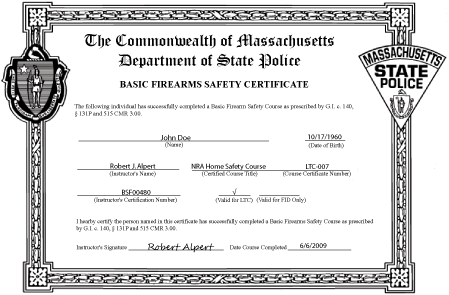 Massachusetts Basic Firearms Safety Certificate